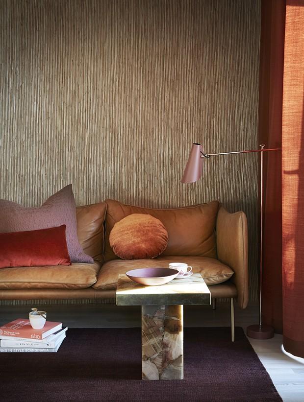 Décor do dia: sala de estar em tons terrosos e materiais naturais (Foto: reprodução)