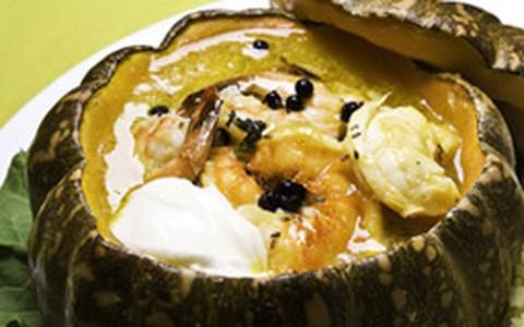 Jerimum recheado com frutos do mar