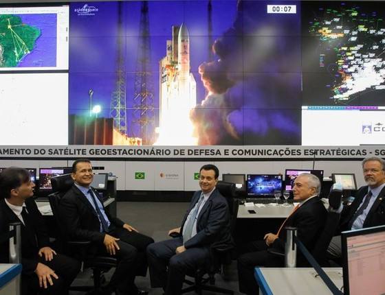 Transmissão do Lançamento do Satélite Geoestacionário de Defesa e Comunicações Estratégicas, em maio (Foto: Beto Barata/PR)
