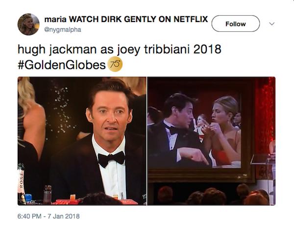A piada comparando a reação de choque de Hugh Jackman no Globo de Ouro 2018 à postura de Joey em Friends (Foto: Twitter)