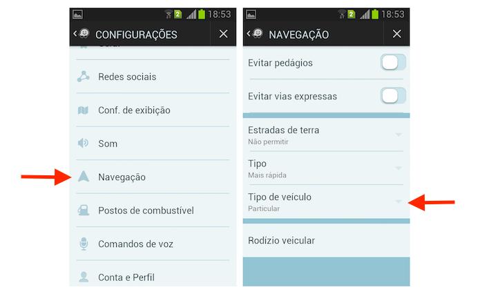 Acessando as opções para tipo de veículo no Waze para Android (Foto: Reprodução/Marvin Costa)
