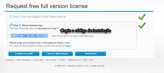 Copie o código de instalação (Foto: Felipe Alencar/TechTudo)