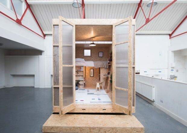 Protótipo. Parceria da inglesa Lowe Guardians com o Studio Bark, o SHED Project foi originalmente pensado para ocupar espaços ociosos, como imóveis em reforma (Foto: Divulgação)