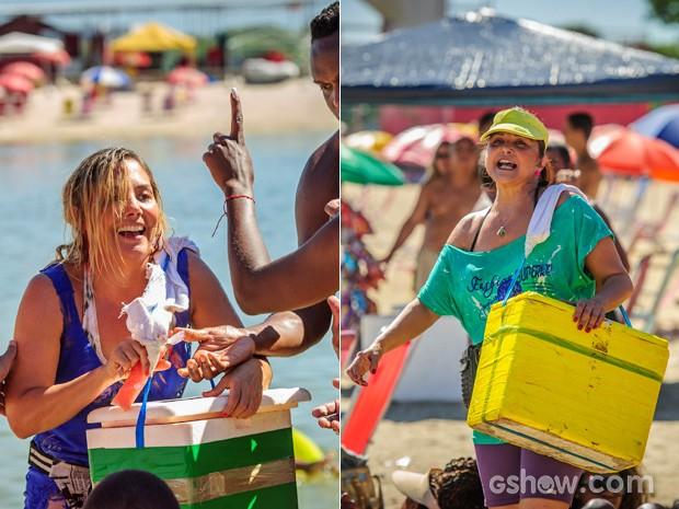 Marali e Edinéia vedem sacolé no Piscinão de Ramos (Foto: TV Globo/Alex Carvalho)