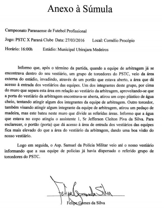 Súmula PSTC Paraná (Foto: Reprodução/FPF)