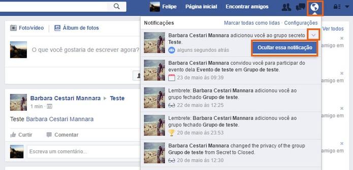 Oculte a notificação do grupo secreto na lista do Facebook (Foto: Reprodução/Barbara Mannara)