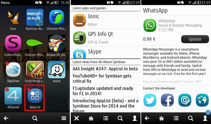 App List traz visual parecido com Nokia Store e procura por atualização de apps do Symbian (Foto: Reprodução/Elson de Souza)