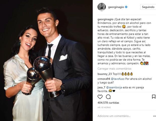 Georgina Rodríguez e Cristiano Ronaldo (Foto: Reprodução/Instagram)
