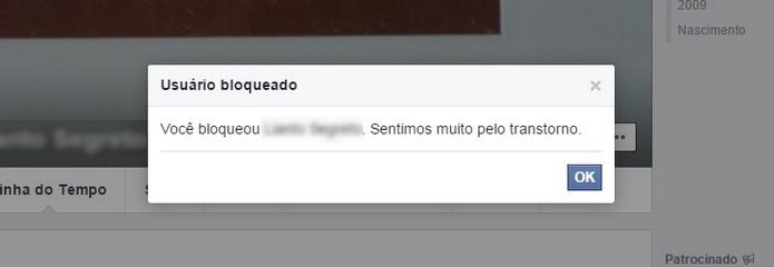 Confirmação do Facebook de que usuário está bloqueado (Foto: Reprodução/Raquel Freire)