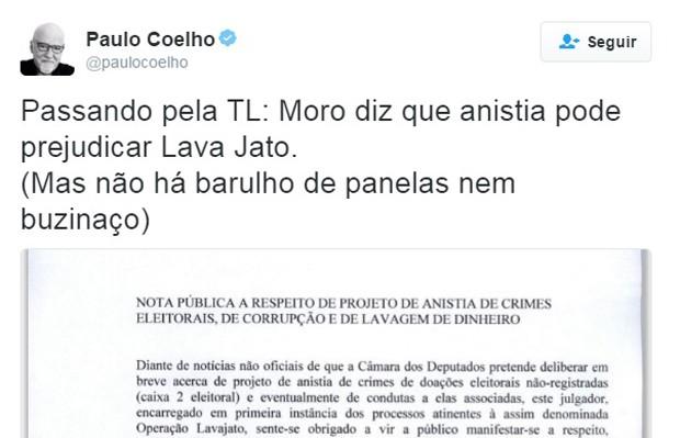 620_Tuíte do escritor Paulo Coelho sobre proposta de anistia de caixa 2 (Foto: Reprodução/Twitter/@paulocoelho)