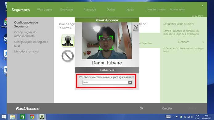 Cadastre e-mail e senha para registrar o reconhecimento biométrico facial (Foto: Daniel Ribeiro / TechTudo)