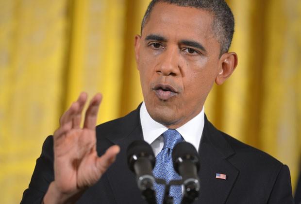 O presidente dos EUA, Barack Obama, dá sua primeira entrevista coletiva pós-reeleição, nesta quarta-feira (14), na Casa Branca (Foto: AFP)