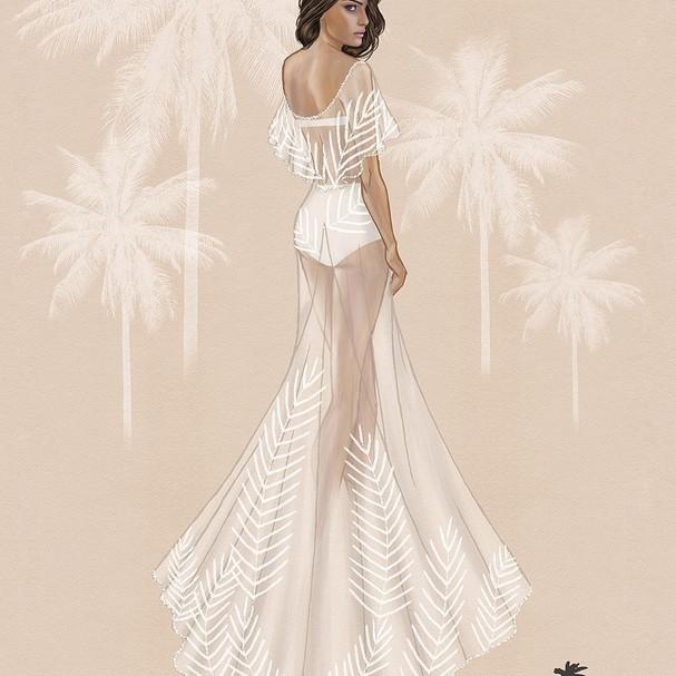 Croqui do vestido de Isabeli Fontana (Foto: Reprodução/Instagram)
