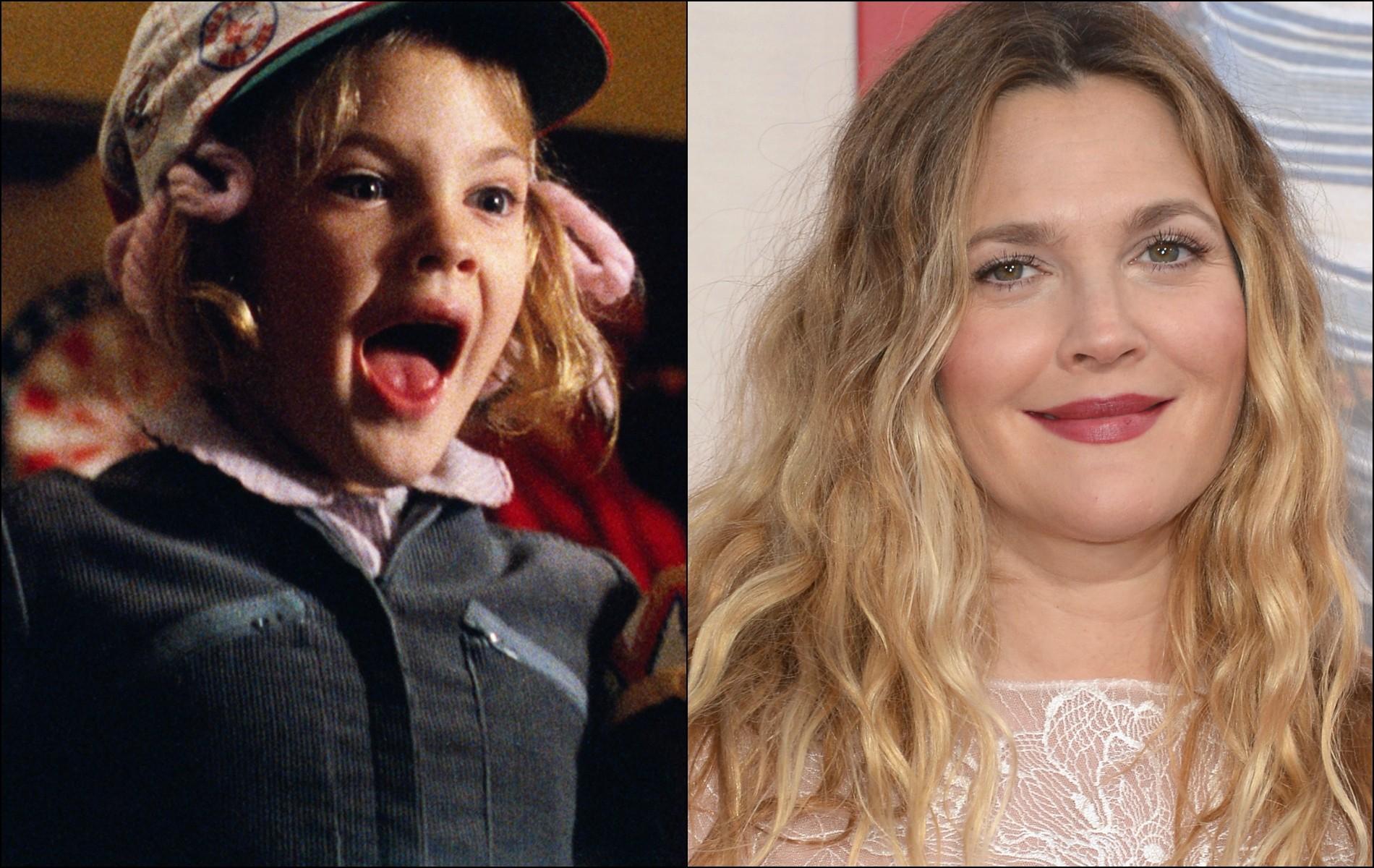 Aos 7 anos, Drew Barrymore fez o clássico 'E.T. — O Extraterrestre' (1982). Atualmente tem 39 anos. (Foto: Reprodução e Getty Images)
