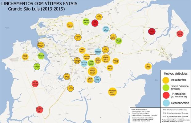 Mapa mostra locais onde linchamentos foram registrados (Foto: Divulgação / SMDH)
