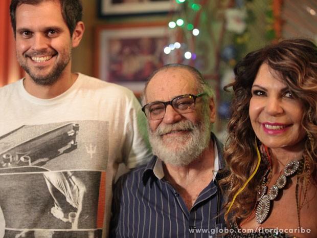 Leo Nogueira, Walther Negrão e Elba Ramalho (Foto: Flor do Caribe / TV Globo)