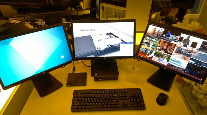 HP Desktop Mini: comanda até três monitores (Foto: Fabricio Vitorino / TechTudo)
