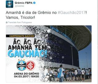 Twitter Grêmio provocação Inter Grêmio (Foto: Reprodução/Twitter)