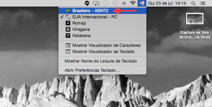 Ativando o padrão ABNT 2 no Mac OS X (Foto: Reprodução/Marvin Costa)