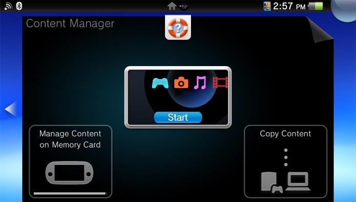 Passo 2 - Selecione Start ou Manage Content on Memory Card (Foto: Reprodução)