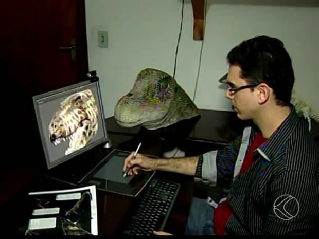artista dinossauro uberaba 2 (Foto: Reprodução/ TV Integração)