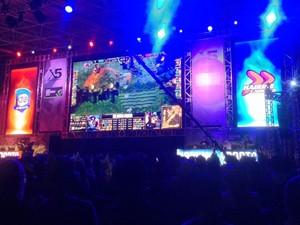 Partida do game 'League of Legends', realizada durante o campeonato X5 Mega Arena, em São Paulo (Foto: Helton Simões Gomes/G1)