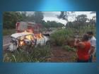 Vídeo mostra carro de família do AP em chamas após acidente no MA