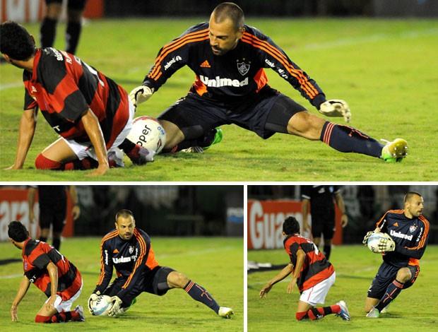 Rafinha e Cavalieri Flamengo x Fluminense (Foto: André Durão / Globoesporte.com)