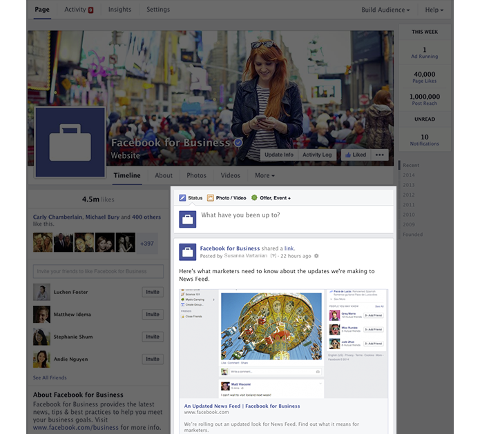 Novo design das fanpages do Facebook vai organizar postagens em uma única coluna (Foto: Divulgação/Facebook)