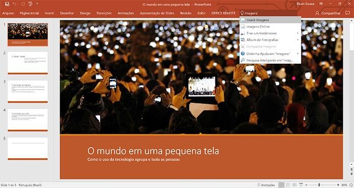 Usuário pode dar comando no PowerPoint e outros apps do Office 2016 (Foto: Reprodução/Elson de Souza)
