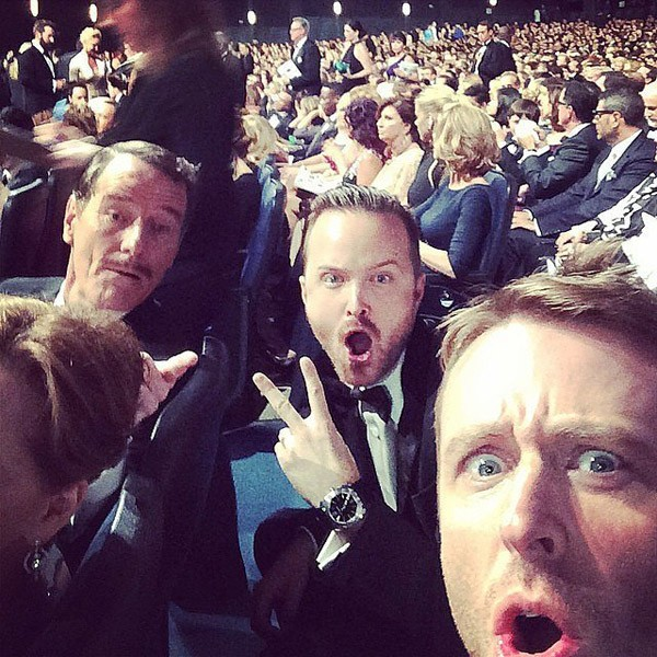 "O que Jessie diria dessa foto de Bryan Cranston, Aaron Paul e Chris Hardwick? ""Hell yeah, bitch!"" (Foto: Instagram)"