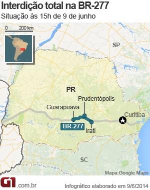BR-277 está totalmente interditada entre Guarapuava e Irati, no Paraná (Foto: Arte/G1)
