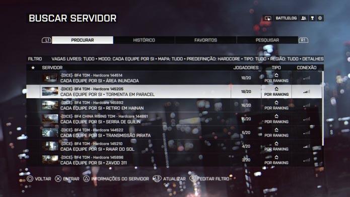 Selecione o servidor para jogar (Foto: Reprodução/Murilo Molina)