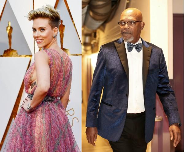 A atriz Scarlett Johanson e o ator Samuel L. Jackson no Oscar 2017 (Foto: Getty Images)