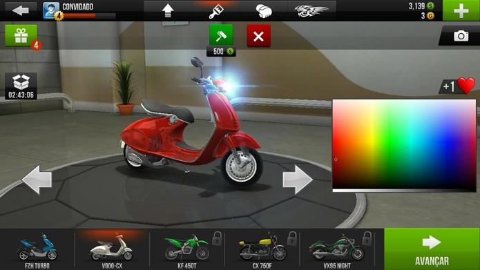 Traffic Rider inclui outras opções de customização, como pintura (Foto: Reprodução/Tais Carvalho)