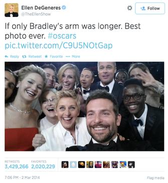 O post mais retuitado da história do Twitter foi feito pela apresentadora Ellen DeGeneres com a selfie feita durante o Oscar 2014 (Foto: Divulgação) (Foto: O post mais retuitado da história do Twitter foi feito pela apresentadora Ellen DeGeneres com a selfie feita durante o Oscar 2014 (Foto: Divulgação))