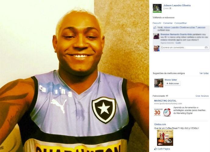 Jobson posta foto depois de treino no Botafogo (Foto: Reprodução/Facebook)