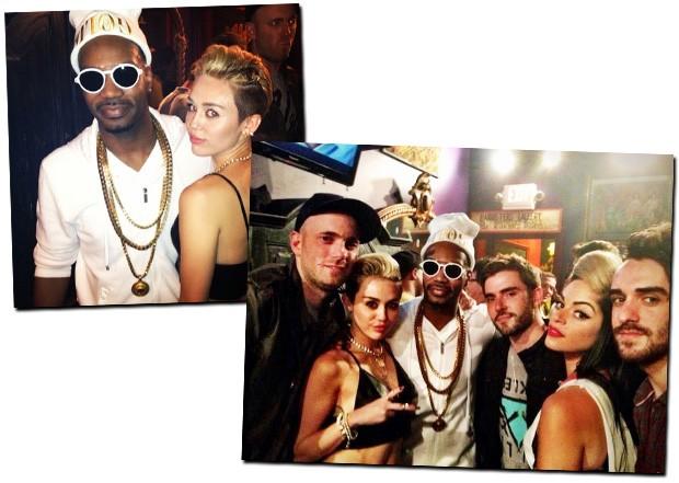 Miley com o rapper Juicy J e um grupo de amigos nos bastidores do show (Foto: Reprodução/Instagram)