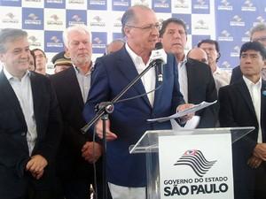 Governador Geraldo Alckmin anuncia início das obras do hospital regional em São José dos Campos, SP (Foto: Michelle Mendes/ G1)