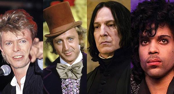 David Bowie, Gene Wilder, Alan Rickman e Prince (Foto: Divulgação / Getty Images)