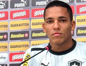 Gilberto na entrevista do Botafogo (Foto: Fred Huber)
