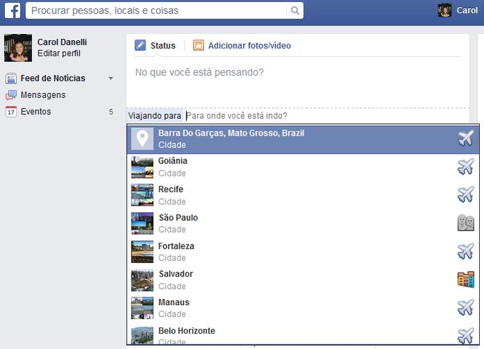 As sugetões dos lugares são baseadas no Facebook Place (Foto: Reprodução/Carol Danelli)