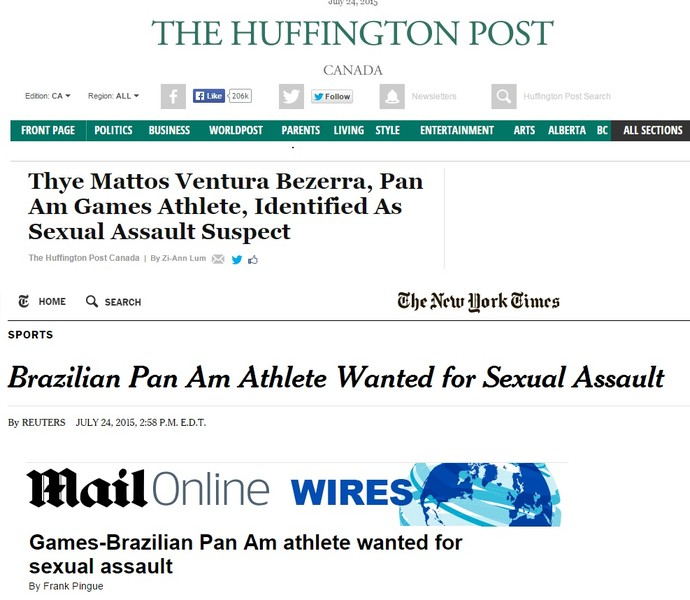 Jornais internacionais repercutem as acusações contra o brasileiro Thye Mattos (Foto: Reprodução)