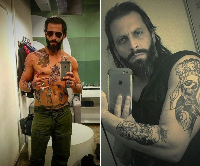 Henri mostra as tatuagens de seu personagem Raul  (Foto: TV Globo)