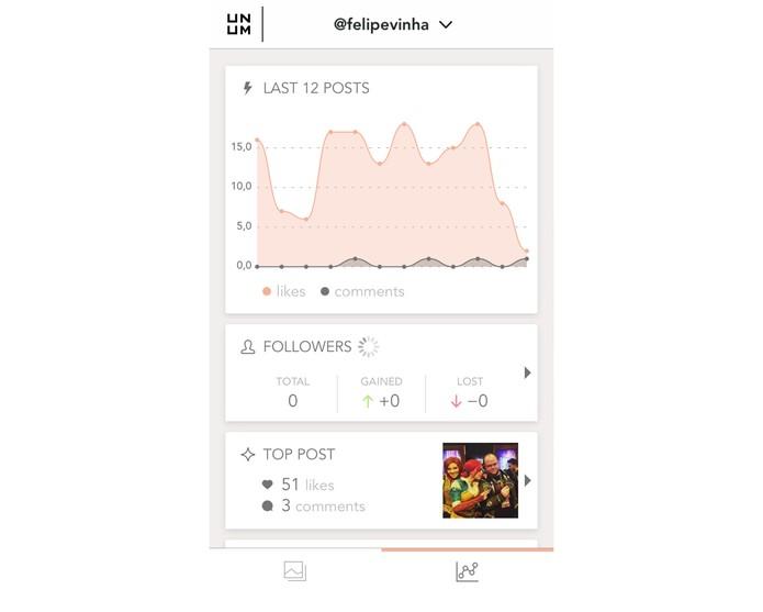 As métricas resumidas do UNUM com o Instagram (Foto: Reprodução/Felipe Vinha)