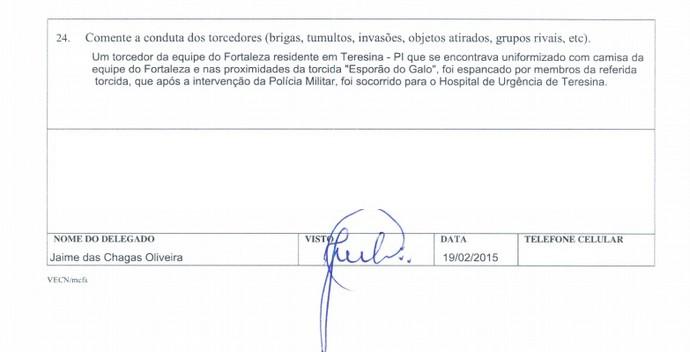 Relatório de partida do Albertão mostra agressão a torcedor (Foto: Reprodução)