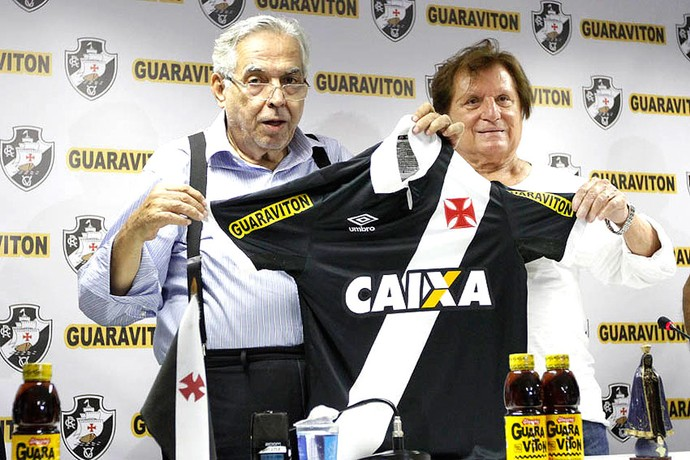 Eurico Miranda e Neville Proa, Novo Patrocínio camisa Vasco (Foto: Marcelo Sadio / Vasco.com.br)