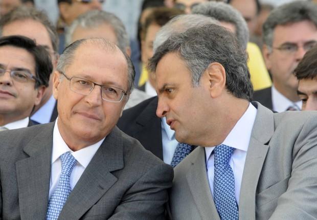 Geraldo Alckmin e Aécio Neves , durante encontro do PSDB (Foto: Reprodução/YouTube)
