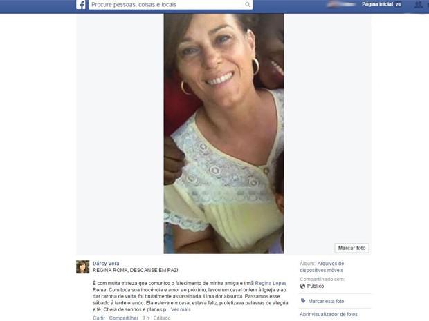 Prefeita Dárcy Vera prestou homenagem à vítima de assassinato em Ribeirão Preto, SP (Foto: Reprodução/Facebook)