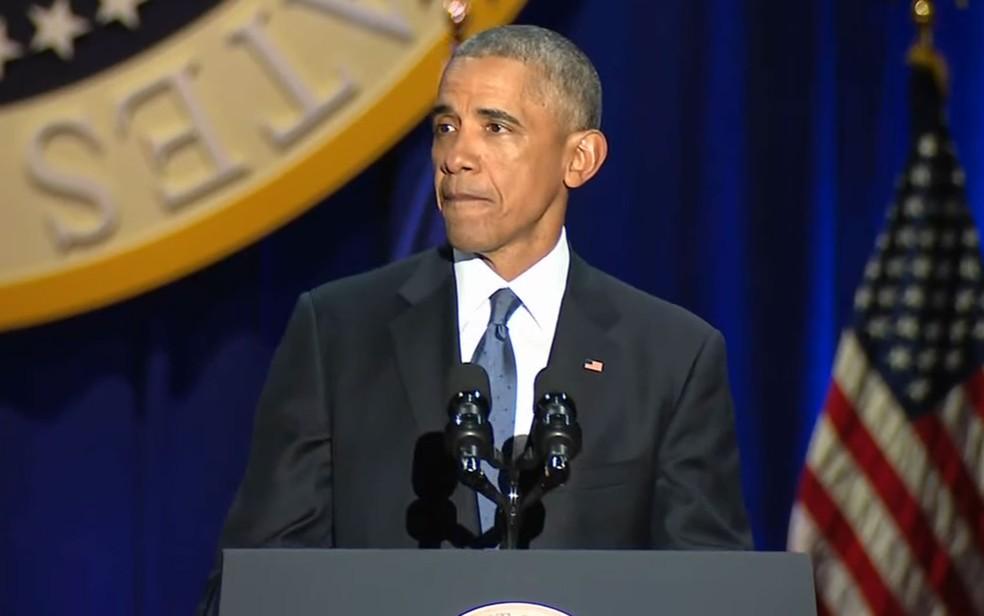 Barack Obama em discurso de despedida, na terça (10) (Foto: Reprodução/Youtube/White House)